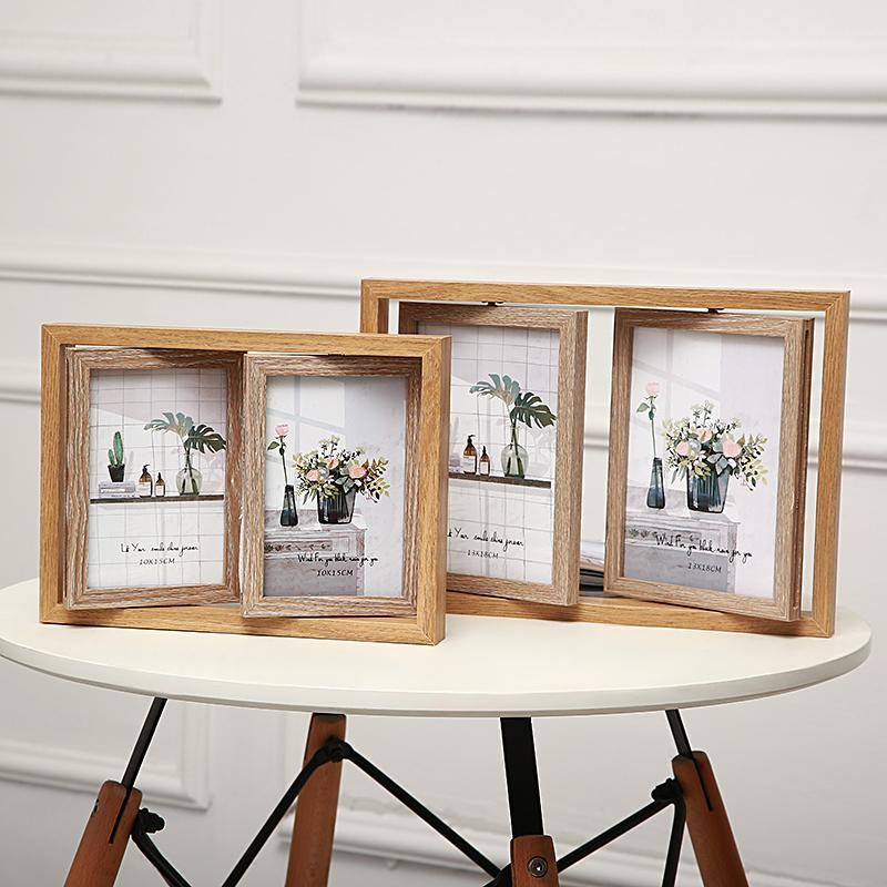 Vintage American 6-Inch 7/-Inch Double-Sided Joined Bodies Combination Frame Photo Developing Photo Frames Creative Stereo Tabletop Put 4 Bed