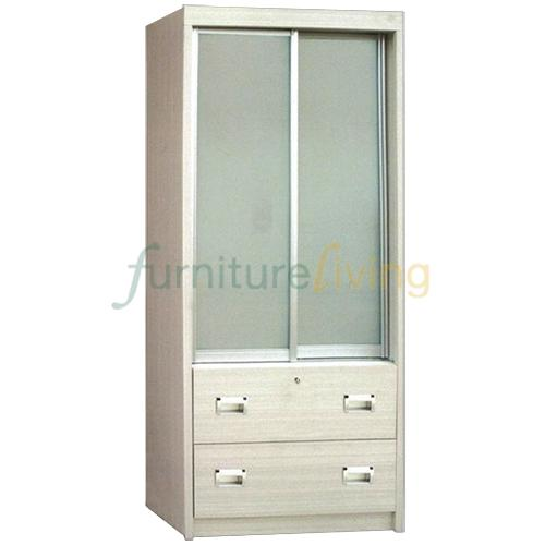 Furniture Living Sliding Door Wardrobe (Limewash)