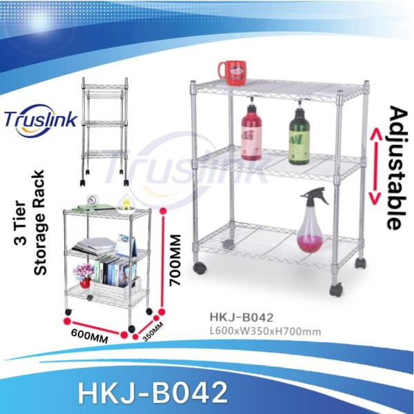 [SG Local Seller] 3 Tiers Waterproof Anti-corrosion Height Adjustable Multi-purpose Shelving Unit Storage Organisation Rack Rack With wheels Suitable for Office、Kitchen、Living、Storage Room--Linear Space HKJ-B042