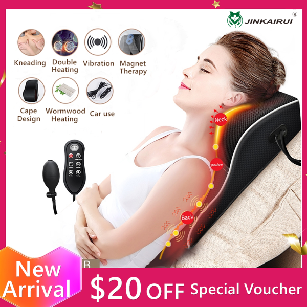 Buy Jinkairui Neck Massager with Hand Control Body Massage Machine Electric Kneading Heating Vibration Massage Pillow for Back Waist Home Office Car Use Singapore