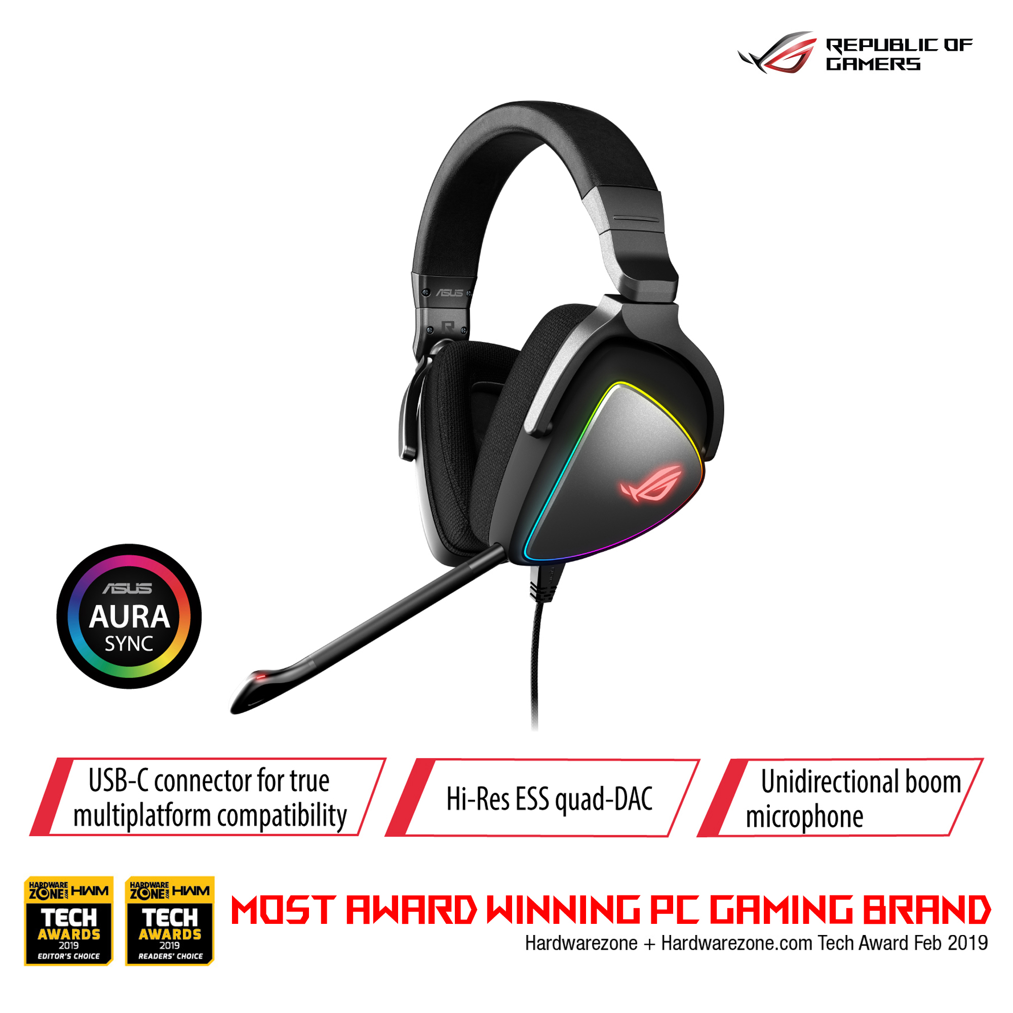 ASUS ROG Delta RGB gaming headset with Hi-Res ESS Quad-DAC, circular RGB lighting effect and USB-C connector for PCs, consoles and mobile gaming