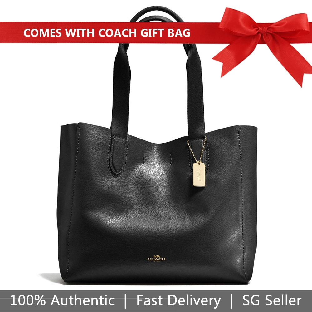 80e1d2bb2ae Coach Tote With Gift Bag Derby Tote In Pebble Leather Handbag Black Oxblood  / Gold #
