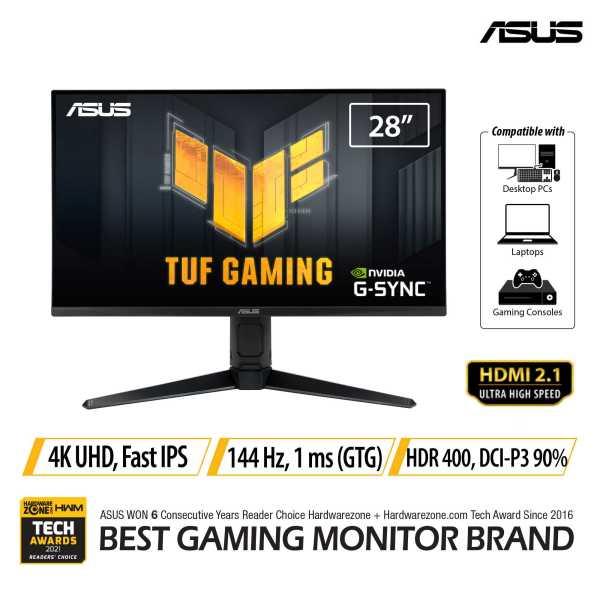ASUS TUF Gaming VG28UQL1A HDMI 2.1 Gaming Monitor — 28-inch 4K UHD (3840 x 2160), Fast IPS, 144 Hz, 1 ms GTG, NVIDIA G-Sync compatible, AMD FreeSync™ Premium, DSC, ELMB Sync, Variable Overdrive, DisplayHDR™ 400, DCI-P3 90%