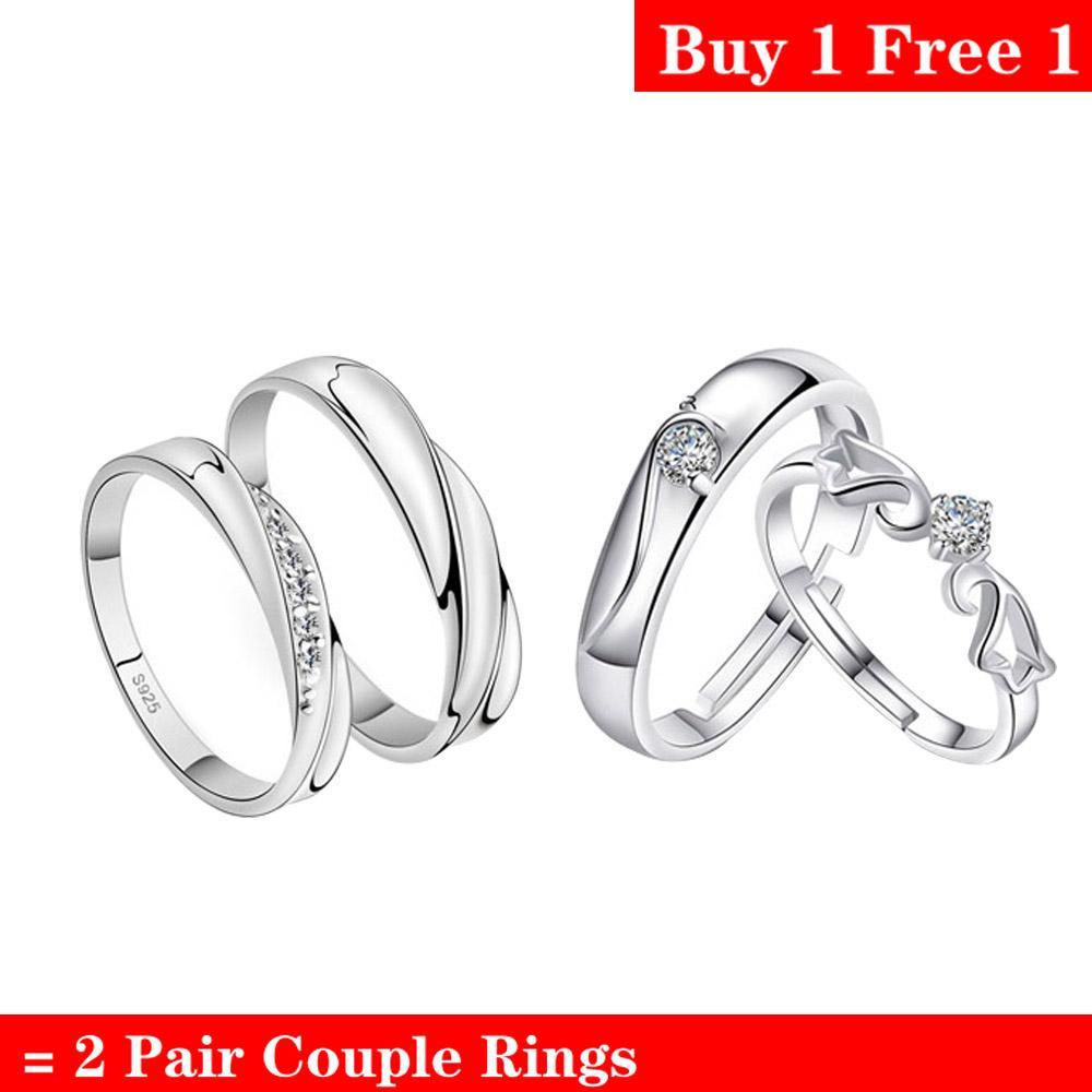 6533cfe553 Aolvo Adjustable Rings Couple Rings Jewellry 925 Silver Adjustable Lovers  Rings Free Couple Rings [ Buy