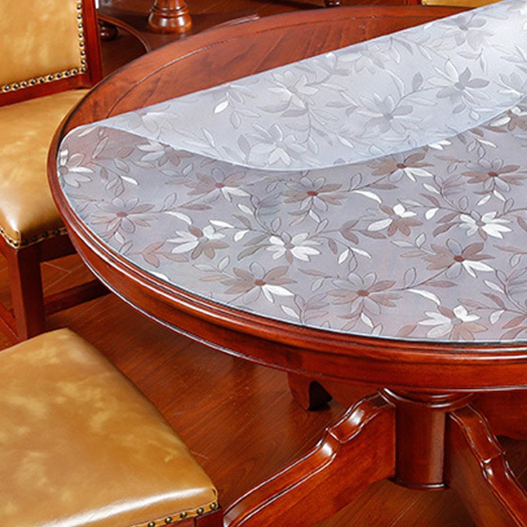 JIJI (Livia Pastoral Water & Heat Proof Transparent Table Mat - Round) - Floral / 80CM / 100CM / 120CM / 140CM / 150CM / 1.5mm  (SG)