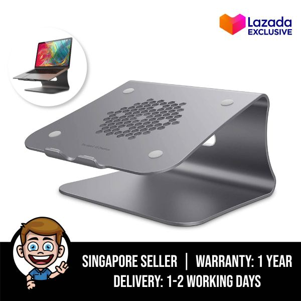 [Lazada Exclusive] Bestand Laptop Stand, Ergonomic Aluminum Ventilated Desktop Stand for MacBook Mount & Holder for Apple MacBook Air, MacBook Pro, All Notebooks, Space Grey (Patented) - Honeycomb Design