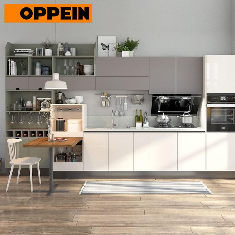 (Privileged Deposit) Beige and Gray Lacquer Straight Line Kitchen Cabinets Cupboard