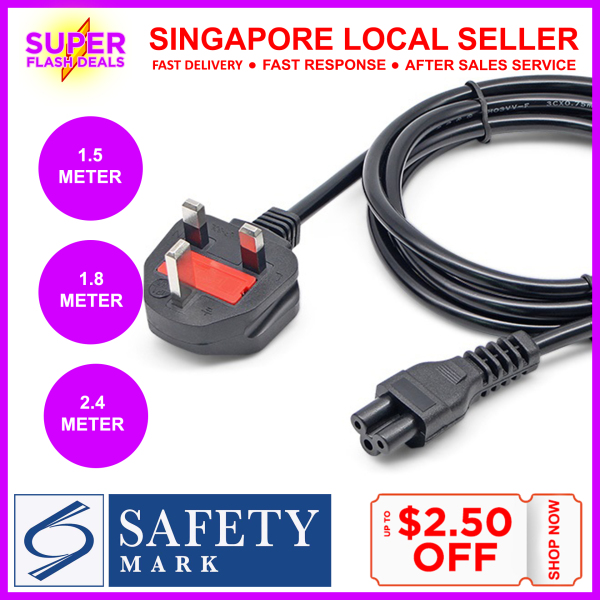 Singapore Safety Mark Approval Power Cord C5 AC Power Cable 3 Pin UK Plug Extension Cable Cord Adapter UK C13 Computer Power Supply Monitor Kettle Computer Power Cord Printer Power Cord Laptop Mobile TV Fan Rice Cooker Appliances Kitchen