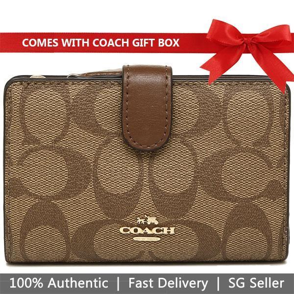 Coach Wallet In Gift Box Medium Corner Zip Wallet Black / Brown # F23553