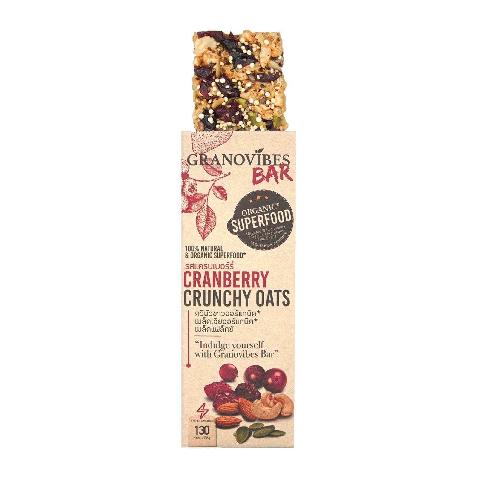 Granovibes Cranberry Crunchy Oats Granola Bar