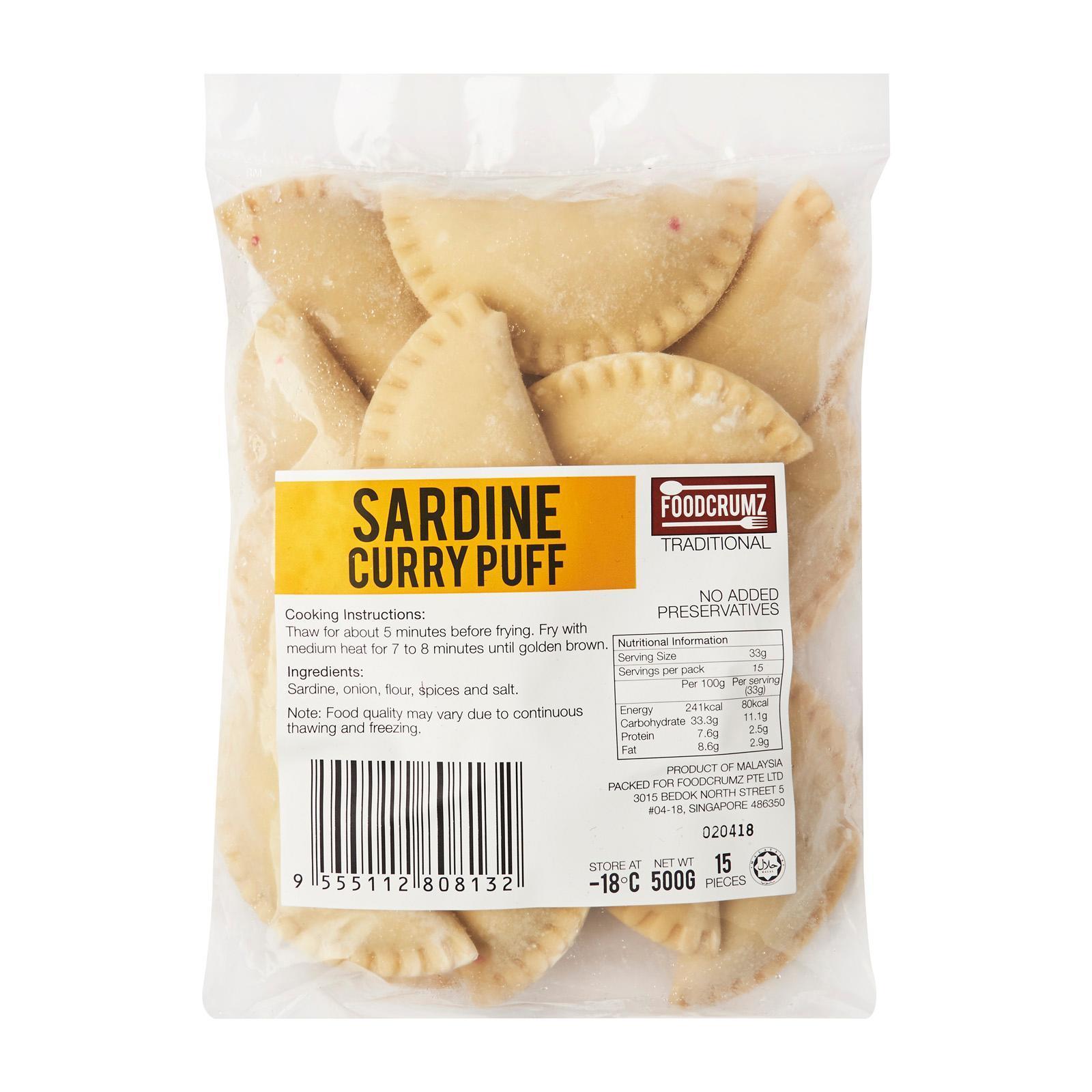 Foodcrumz Sardine Curry Puff - Frozen