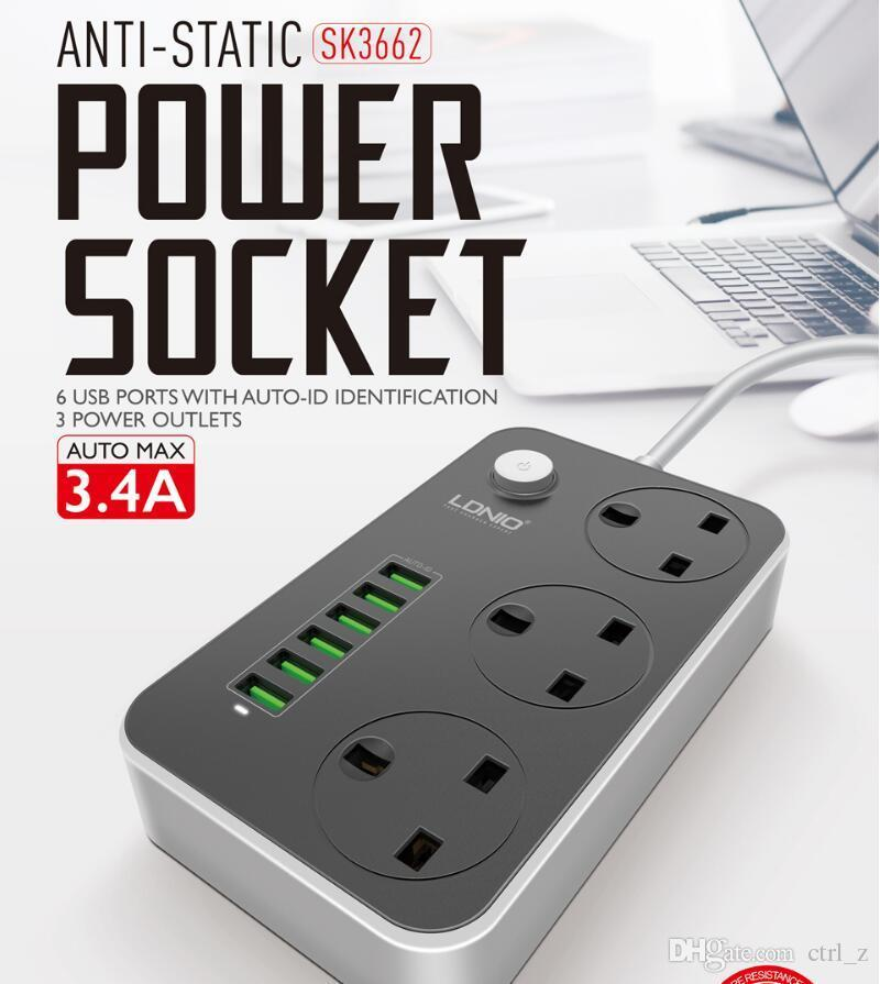 LDNIO SC3604 Power Socket with UK 3 Pin + 6 USB Charger 250V/2500W/10A 2 Meter Power Extension