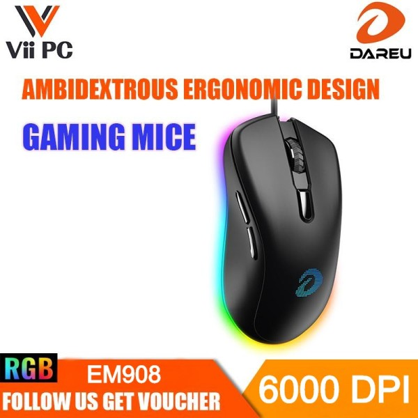 DAREU EM908 Wired Gaming Mouse 6 Programmable Buttons 6000 DPI Adjustable 16.8 Million Chroma RGB Backlit Comfortable Grip Ergonomic Optical Sensor Gaming Mice for Notebook PC Laptop Computer –Black Singapore Local Reseller, 1 Year 1to1 Exchange Warranty
