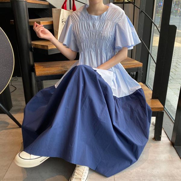 Hàn Quốc Chic Mùa Hè Phong Cách Tây Cổ Tròn Nhăn Cảm Hứng Thiết Kế Dáng Suông Rộng Phối Màu Swing Bay Tay Áo Đầm Váy Dài