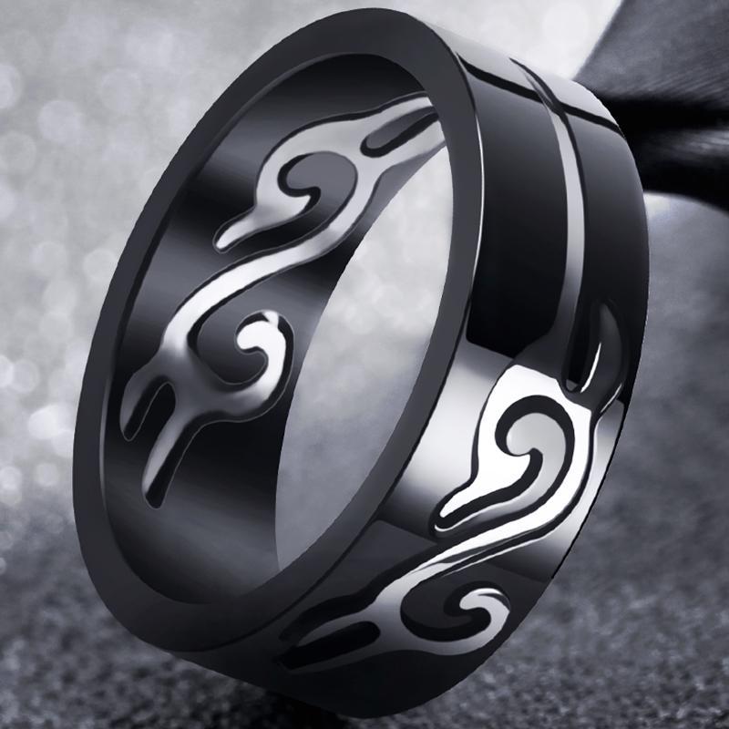 Gaya Korea baja titanium Pria Cincin kepribadian orang trendi merah murid pria cincin tunggal cincin jari