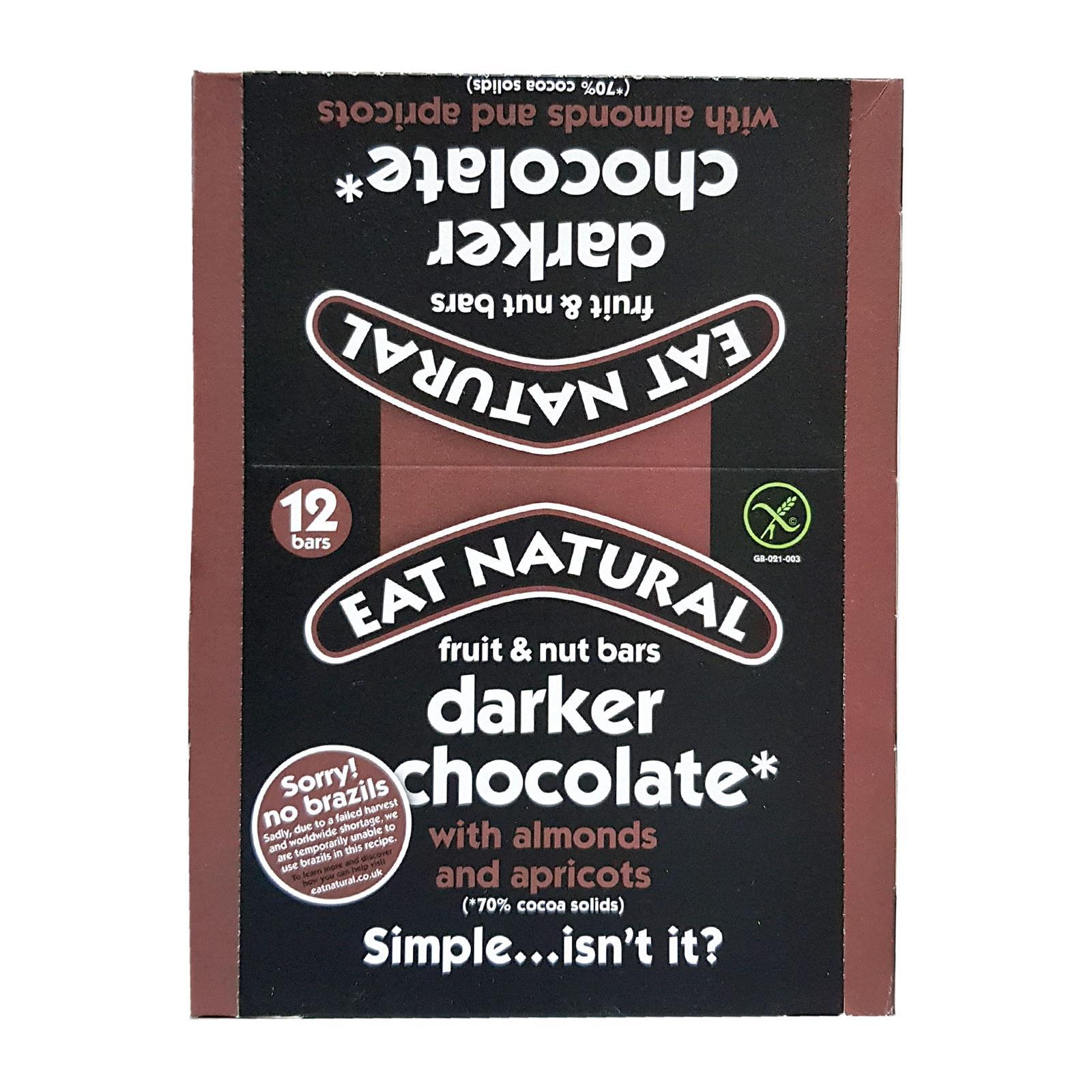 Eat Natural With Dark 70% Chocolate Brazils And Apricots Bar - By Wholesome Harvest