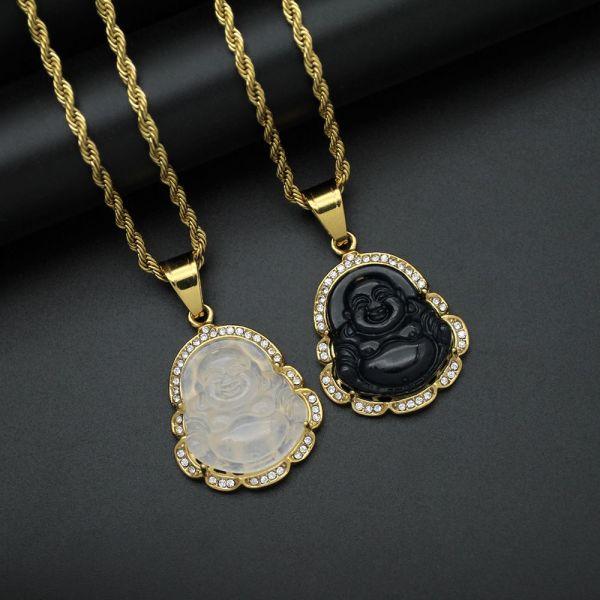 EWELLBE Vintage Party Ladies Mens Gift Jewelry Classic Buddha Pendant Diamond Necklace Pendant Maitreya