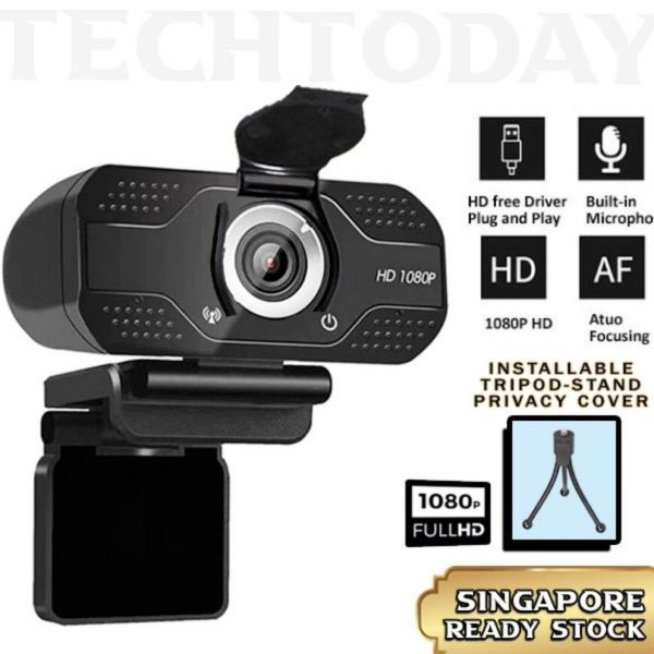 [SG ReadyStock] Webcam HD1080P Autofocus with Tripod Stand & Privacy Cover | USB built in microphone