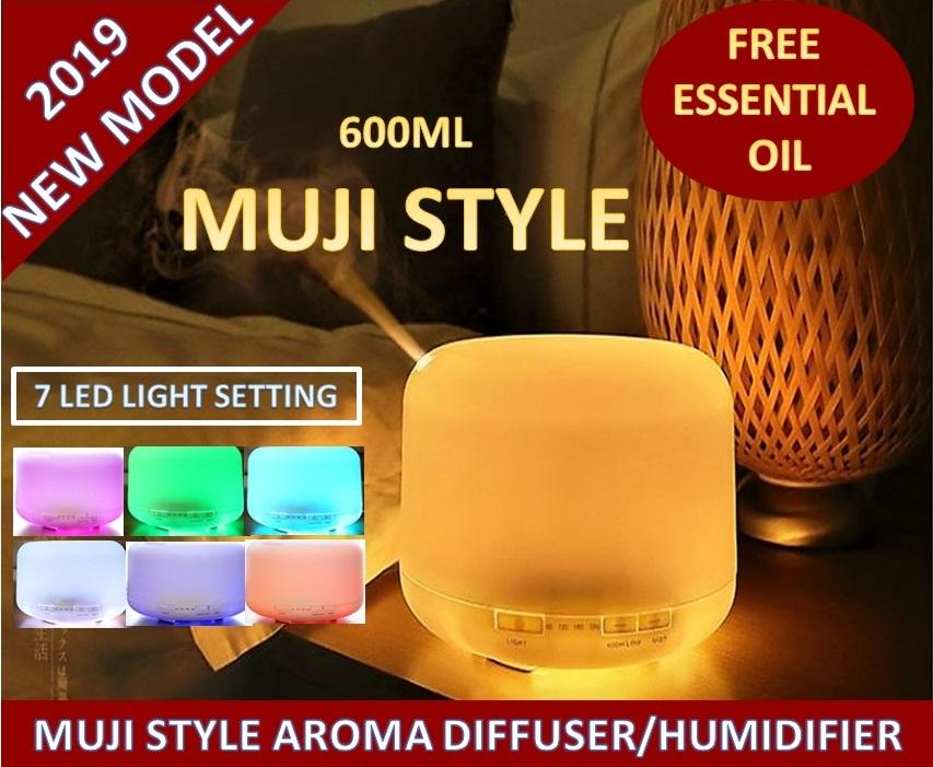 Muji Style Diffuser /ultrasonic Diffuser And Humidifier /air Humidifier/ Aroma Diffuser And Aromatherapy Essential Oil Diffuser/ Wooden Aroma Diffuser With Warm Light/7 Different Colours Setting 600ml/300ml By Icon7977.
