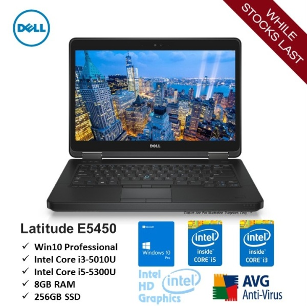 [Refurbished] DELL Latitude E5450 Intel Core i3 i5 5 Gen 5300u 5010u 8gb 256gb ssd home & business 14 laptop notebook - Ready Stock