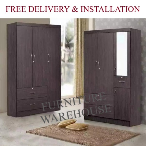 3 Doors Wardrobe Cabinet (2 Design) (Free Installation and Delivery)