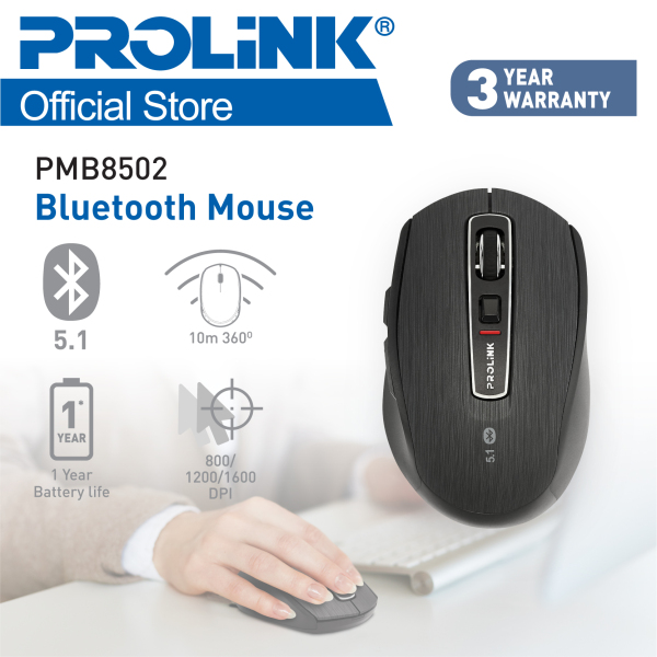 NEW! PROLiNK PMB8502 Premium Bluetooth 5.1 Wireless Mouse - 6 buttons (Powered by Broadcom Chipset from USA)