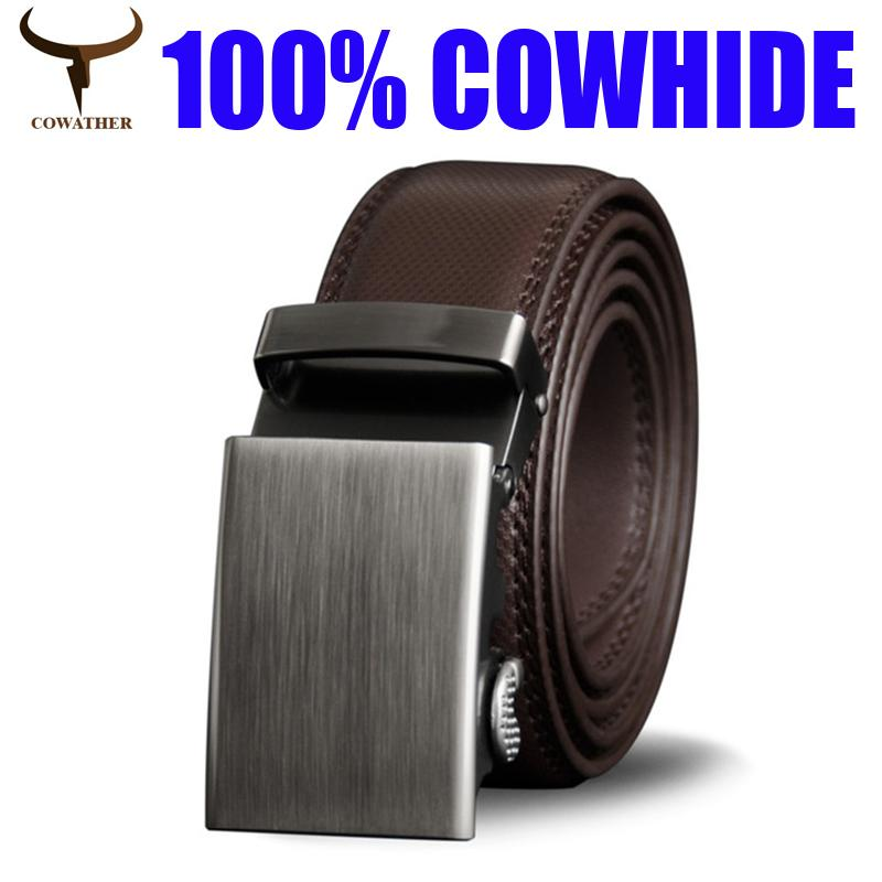 Leather Dress Belt band w// Auto Lock Sliding Buckle Belt Strap Men/'s Belt
