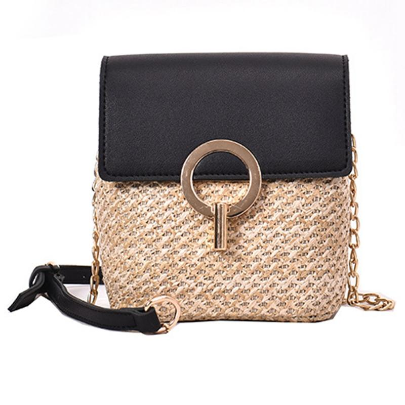 Straw Shoulder Bag Flip Bag Lady Handbag Female Retro Beach Rattan Bag Chain