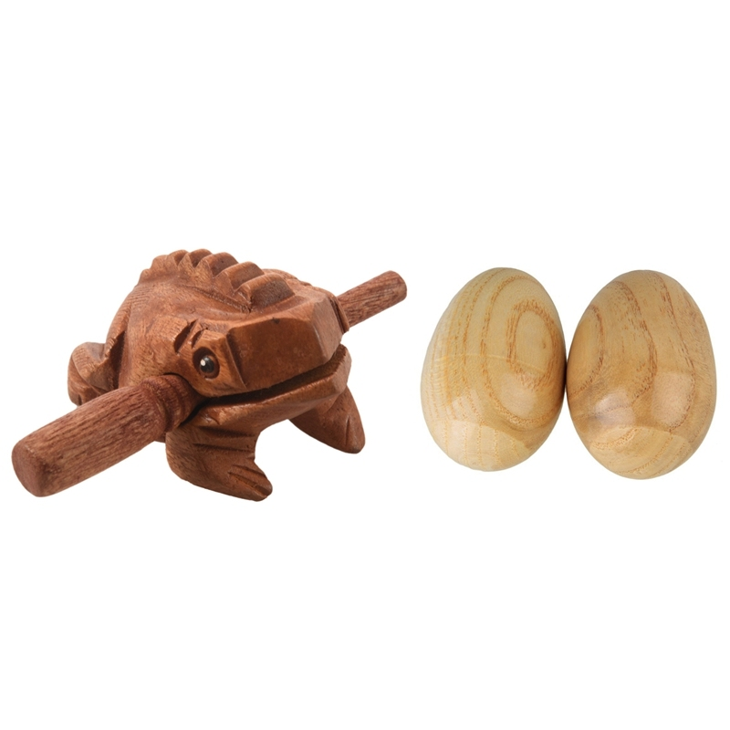 1 Pcs Carved Croaking Wood Percussion Musical Sound Wood Frog Tone Block Toy & 2 Pcs Musical Percussion Instruments Wooden Egg Shakers Rhythm Rattle for Baby Kids