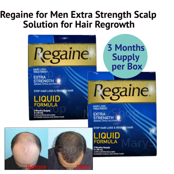 Buy Mens Regaine (Rogaine Compatible) Liquid for Hair Loss and Hair Regrowth, Topical Treatment for Thinning Hair, 6-Month Supply Singapore