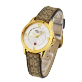 Sale Coach Style Women S Leather Strap Watch Gold Online China