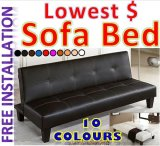 Cheapest Contemporary Sofa Bed Pu Leather Black
