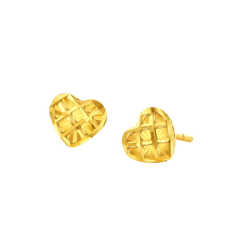 Goldheart 999 Gold Heart Waffle Earrings.