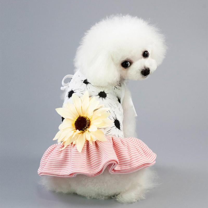 Váy Ren Thoáng Khí Cho Mèo, Trang Phục In Hoa Hướng Dương Chạm Đáy Cho Chó Cưng