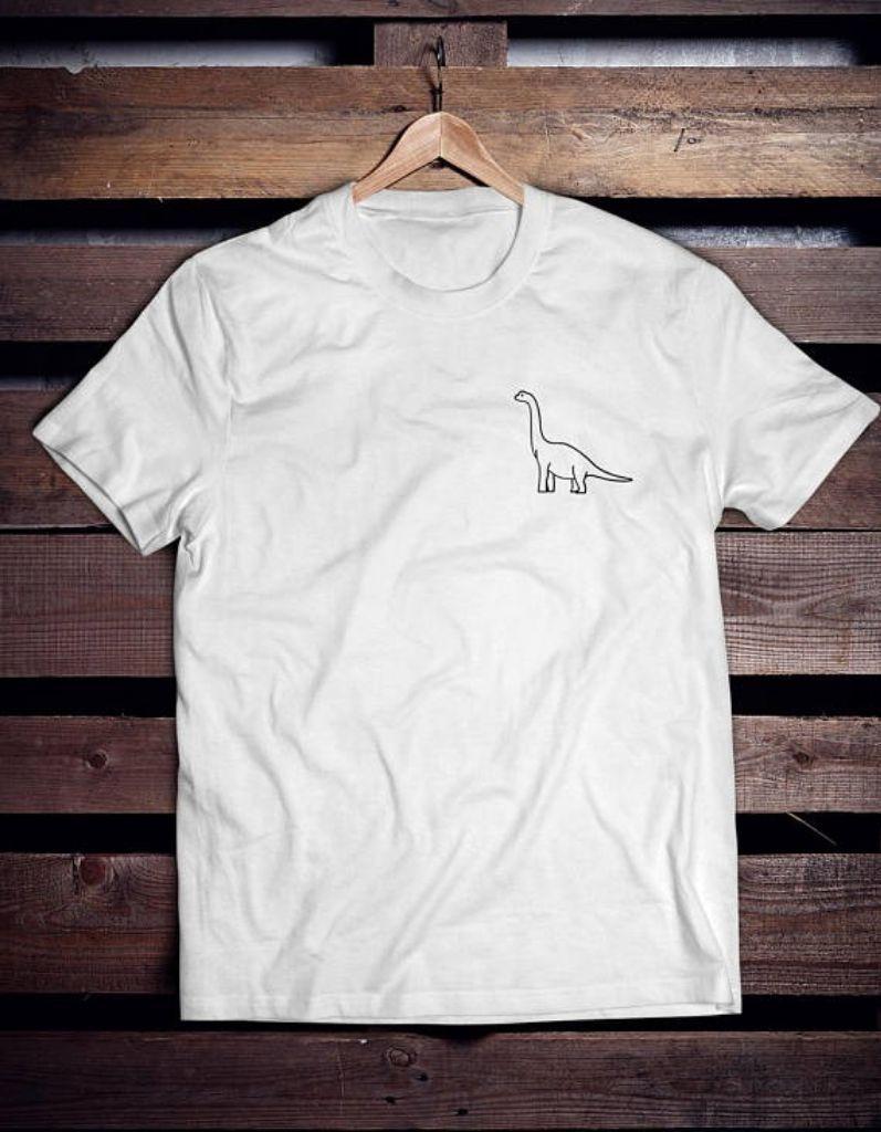 Cute Tee Dinosaur Pocket Size Design Unisex Minimalist By Inkful.