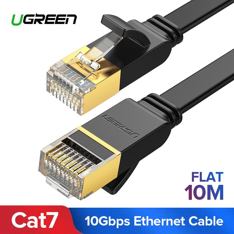 UGREEN 10Meter Flat Cat7 Ethernet Cable RJ 45 Network Cable UTP Lan Cable Cat 7 RJ45 Patch Cord for Router Laptop Cable Ethernet,Black-Flat Version