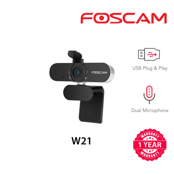 Foscam W21 1080P 2MP Full HD Webcam with built-in Microphone for PC Laptop/ Desktop/ Mobile Live Streaming USB-C