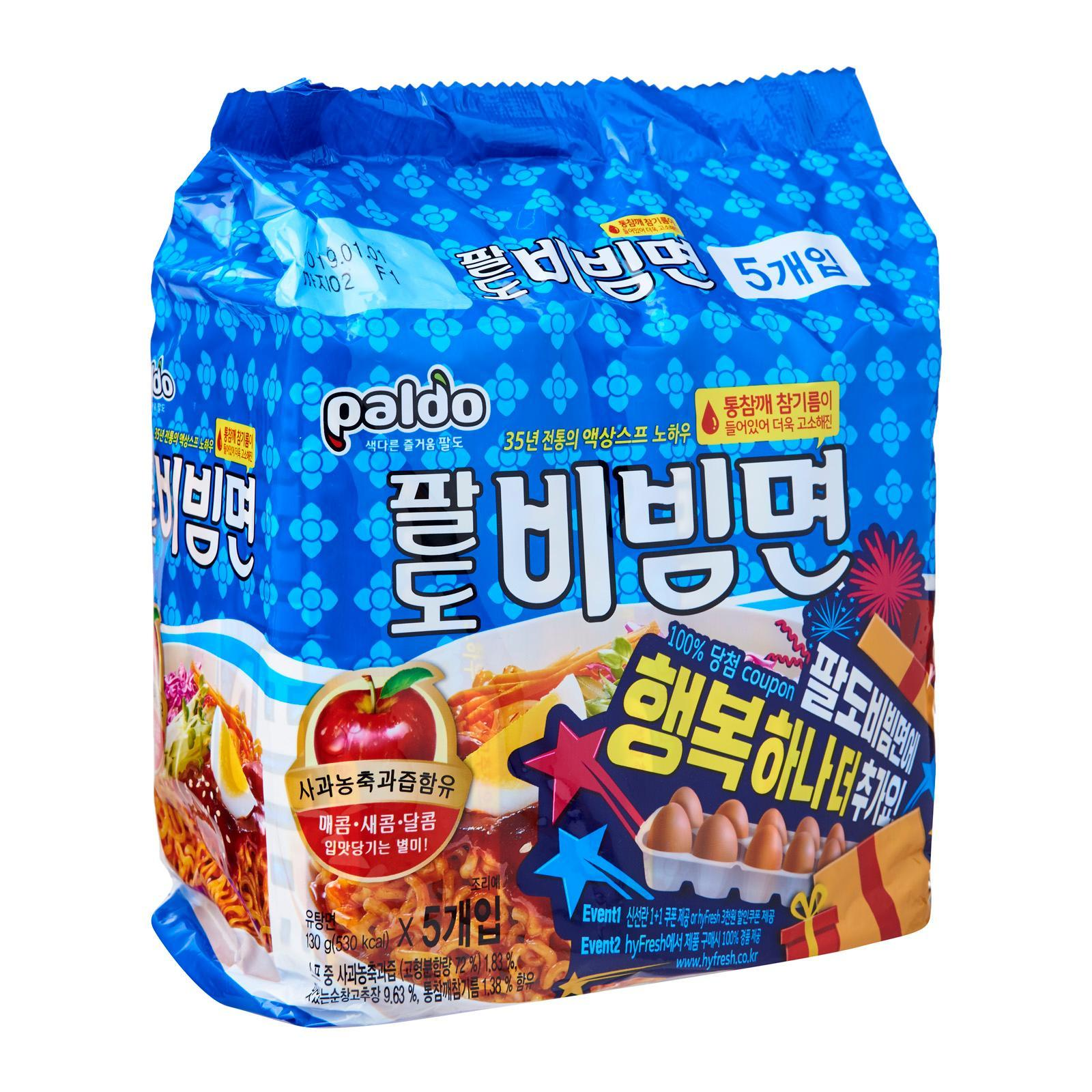 Paldo Korean Bibim Noodles Sweet and Spicy Cold Noodles Instant Ramen Noodles 5s