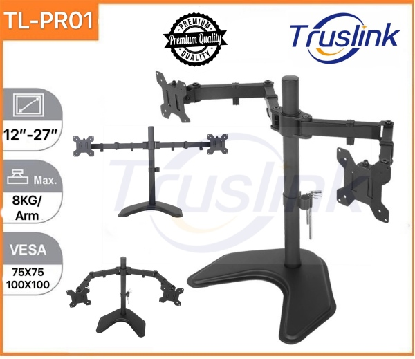 【SG Seller】Truslink Dual Monitor Desk Stand Free Standing Height Adjustable Full Motion Two Arm Monitor Mount for Two 12 to 27 inch LCD Screens with Swivel and Tilt, 8KG Per Arm Up Down 90° Adjustment