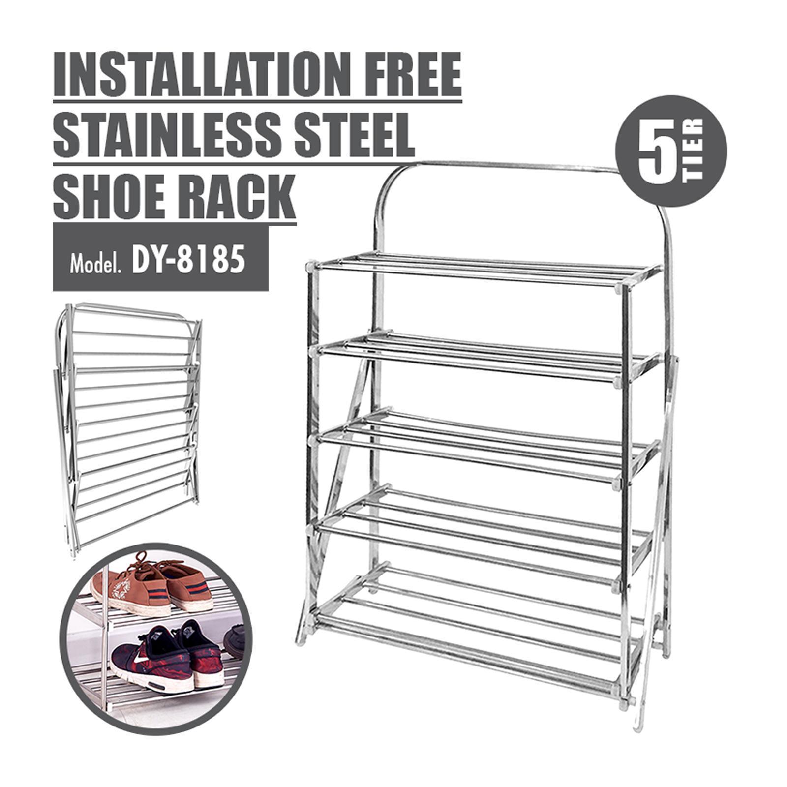 HOUZE 5 Tier Installation Free Stainless Steel Shoe Rack
