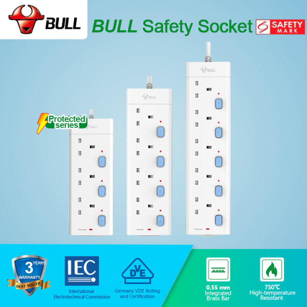Bull Safety Socket 4/5 Way Extension Socket Outlet with Certified Safety Mark& 3 Years Warranty (3.0 Meters Cable) GNSG-E30XT Series Power Strip have Individual LED Indicator & 2-PIN Euro Plug Friendly.Professional Lightning Protection & Surge Protector