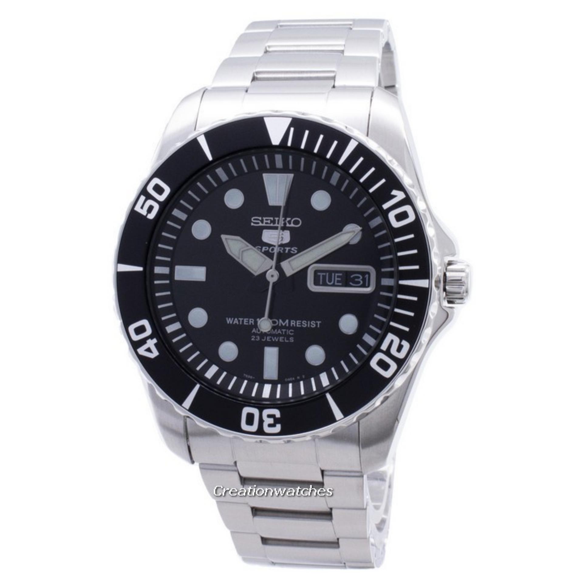 2817c0cd0 Seiko 5 Sports Automatic 23 Jewels Men's Silver Stainless Steel Bracelet  Watch SNZF17K1
