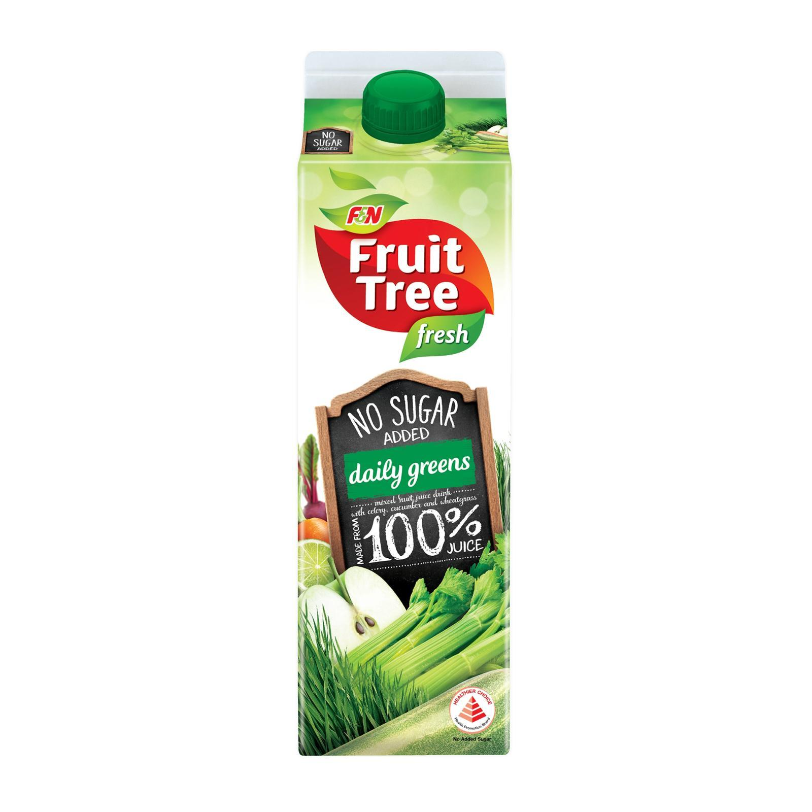 F&n Fruit Tree Fresh Daily Greens Mixed Fruit Juice Drink - No Added Sugar By Redmart.