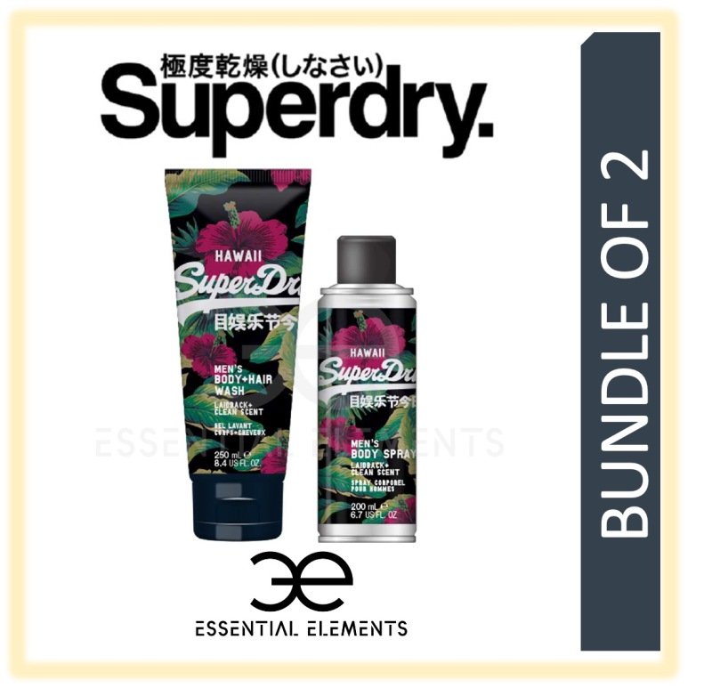 Buy SUPERDRY [BUNDLE OF 2] HAWAII MEN BODY & HAIR WASH 250ML + BODY SPRAY 200ML   SPORT ORIGINAL GROOMING ATHLETIC BATH SHOWER DEODORANT SHAMPOO Singapore
