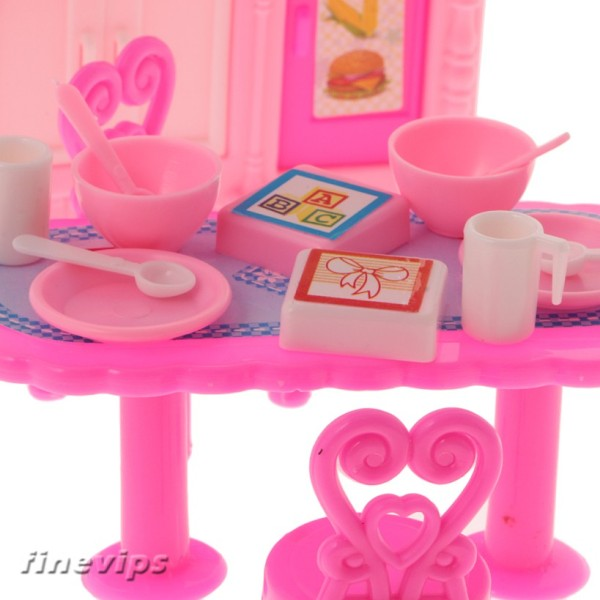 Plastic Kichen Cooking Set Dining Room Dollhouse Accessory for fashion Doll