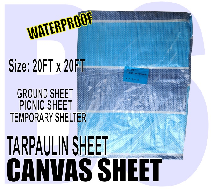 BANSOON Waterproof Canvas Sheet 20FTX20FT (600cm x 600cm). Picnic sheet. Construction. Lorry Shelter. Goods Cover.