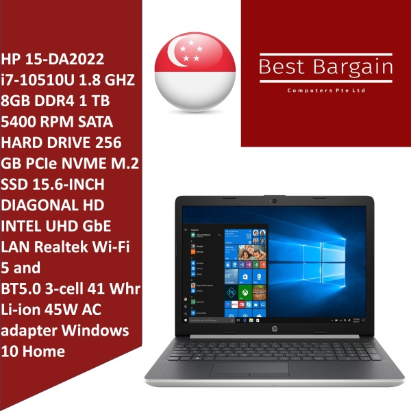 HP 15-DA2022 i7-10510U 1.8GHz 8GB DDR4 1 TB 5400 RPM SATA hard drive 256 GB PCIe NVMe M.2 SSD 15.6-inch diagonal HD,Intel UHD GbE LAN Realtek Wi-Fi 5 and BT5.0 3-cell 41 Whr Li-ion Windows 10 Home 15-DA2022CA