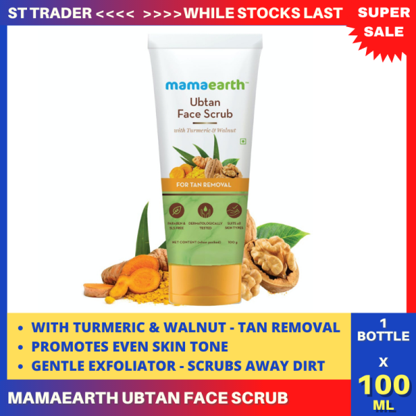 Buy Mamaearth Ubtan Face Scrub with Turmeric & Walnut for Tan Removal - 100g Singapore