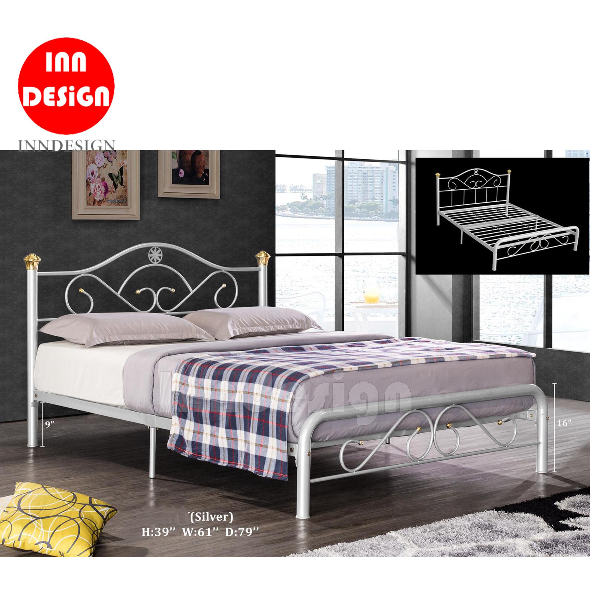 Queen Metal Bed / Metal Bed Frame (Silver)