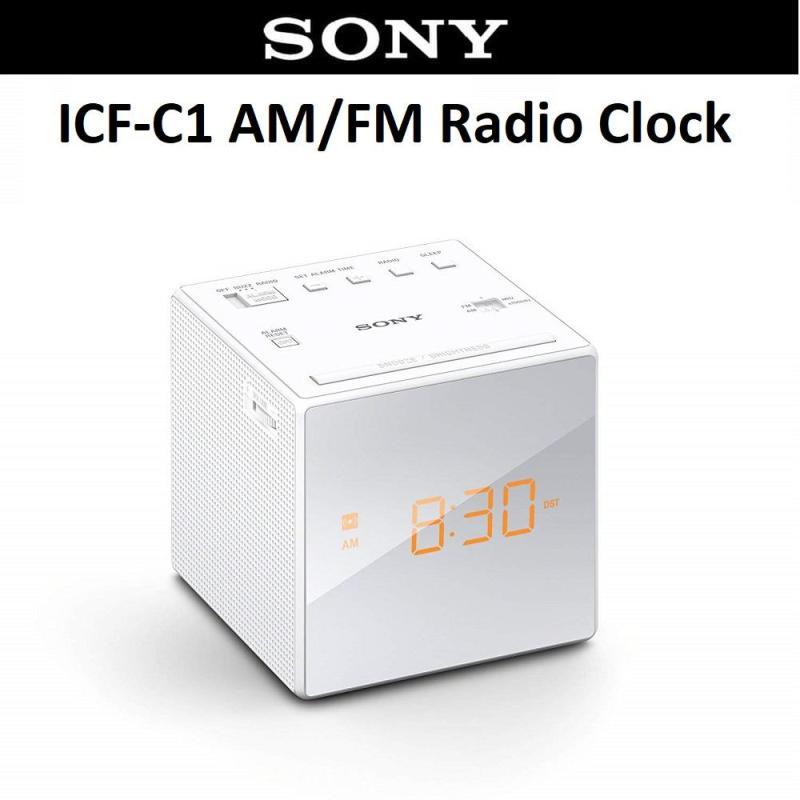Sony ICF-C1 Portable AM/FM Radio Clock Alarm Speaker with Earphone Jack Singapore